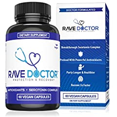 RAVE RECOVERY SUPPLEMENT: The only VEGAN festival hangover pills formulated by medical professionals ANTI HANGOVER PILL: Never too hungover with Rave Doctor's hangover remedy and serotonin mood support 5-HTP SUPPLEMENT: A strategic blend of 5-HTP, vi...
