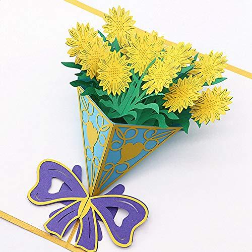 zhongqingshiKelly Poe Pop-Up-Karten mit Papierblumen, zum Geburtstag, Jahrestag, Dankeschön, Muttertagskarten für Ehemann, Ehefrau, Abschlussfeier, Beileidskarte mit Umschlägen für alle Anlässe (01)
