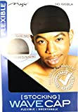 MAGIC Stocking Wave Cap Pack Black Hair Du Rag - 6 Pieces, Spandex Fabric, Flexible, Breathable, one Size, Comfortable, Wig, Hair Extensions, Wig Cap, Stays on Your Head