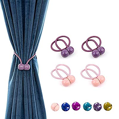 wndeon Magnetic Curtain Tiebacks,Convenient Drape Rope Tie Backs Decorative Buckle Clips Window Treatment Holdbacks for Living Room Bedroom Outdoor Drapes Pink Purple?4 Pack?