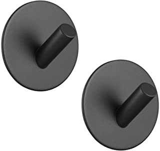Adhesive Hooks Hgery 3M Self Adhesive Black Wall Mount Hook for Key Robe Coat Towel Super Strong Heavy Duty Stainless Stee...