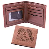 Classic Men's Wallet Custom Photo Wallet Personalized Leather Wallet Engraved Picture & Text Dad's Gift(Brown Single-sided)