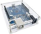 HiLetgo 5pcs UNO R3 ATmega328P ATMEGA16U2 Enclosure Case Kits Transparent Acrylic Enclosure Case UNO Case Enclosure Box for Arduino UNO R3 with Screws and Install Instructions Pack of 5