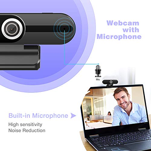 Laptop Webcam with Microphone, Desktop PC Web Cameras for Computers Windows 10 MAC with Privacy Cover, 90 Degree Wide Angle, 1080P HD USB Webcam for Streaming Video Calling Recording Zoom Conference