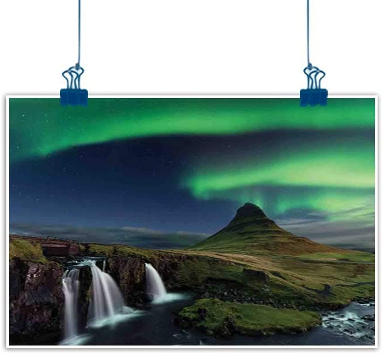 Sunset glow Artwork Office Home Decoration Aurora Borealis,Waterfall Kirkjufellsfoss in The Mountains Iceland Picture Magical Night,Multicolor for Bedroom Office Homes Decorations 36 x32