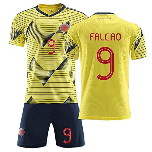 HKIASQ Maglie da Calcio, 2021 Maglia Colombia Home Falcao 9, Uniforme da Calcio per Adulti E Bambini, Abbigliamento per Tifosi di Calcio Uniforme Maglietta Pantaloncini,A,XL/X~Large