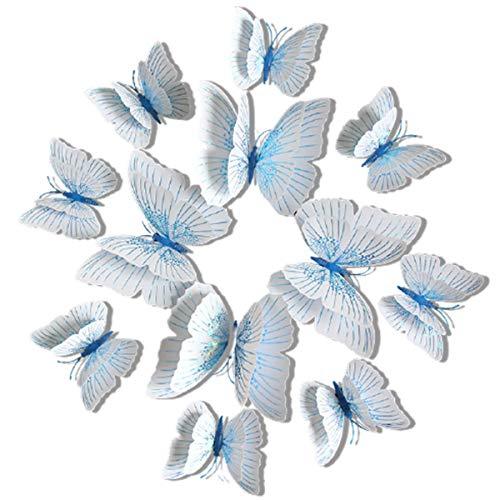 Chilits 12 pegatinas de pared de mariposa 3D para la nevera, imanes magnéticos para bricolaje, imanes de nevera, accesorios de dormitorio para el hogar, imanes para nevera, 12 unidades