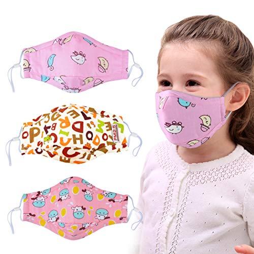 Kapmore 3 Stück Kinder Mund Maske Anti Staub Schön Cartoon Druck Maske Mundschutz