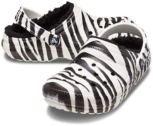 Crocs Unisex-Adult Classic Lined Animal Print Clog   Fuzzy Slippers