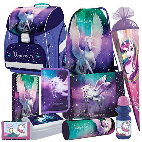 Einhorn Unicorn Pegasus Pferd Pony Horse 10 Teile Set Schulranzen RANZEN FEDERMAPPE TORNISTER Schultasche inklusive Sticker v Kids4shop Schultüte 85 cm