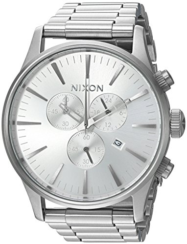 Nixon Men's Sentry Chrono Japanese-Quartz Watch with Stainless-Steel Strap, Silver, 20 (Model: A3861920-00)