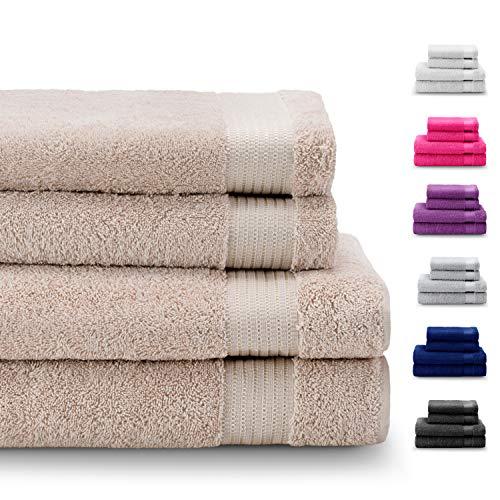 Twinzen Chemikalien-Frei Handtuch-Set 4-Teilig mit 2 Handtüchern und 2 Badetüchern - 100% Baumwolle - Oeko TEX Std 100 Zertifizierung - Weich und Saugstark - Waschmaschinenfest - Schwimmbad