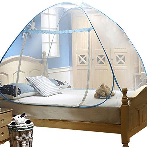 YOUJIA Moustiquaire de lit Lacet Moustiquaire Amovible de Voyager Yourte Tente de Lit Bleu 1.8 * 2 * 1.5m