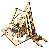 Kit de Brazo Robótico 4 DOF, Brazo Mecánico Robótico de Madera sg90 Servo para Arduino Raspberry Pi SNAM1500 Brazo Robótico DIY con URL de Tutorial para Estudiantes, Adolescentes