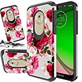 Rubber Phone Case Compatible for Motorola Moto G7 Power & Moto G7 Supra & Moto G7 Optimo Maxx [ Storm Buy ] Shockproof 3D Textured Vibrant Protective Cover for G7 Power (Red Rose)