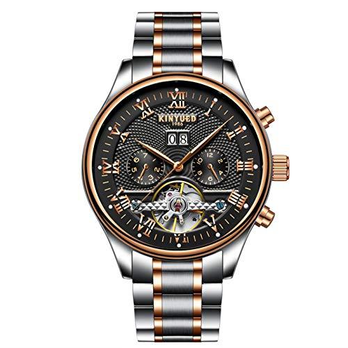 JTTM Moda Business Hombres Automático Mecánico Tourbillon Relojes De Pulsera Acero Inoxidable Correa Luminoso Puntero Calendario Multifunción,Negro