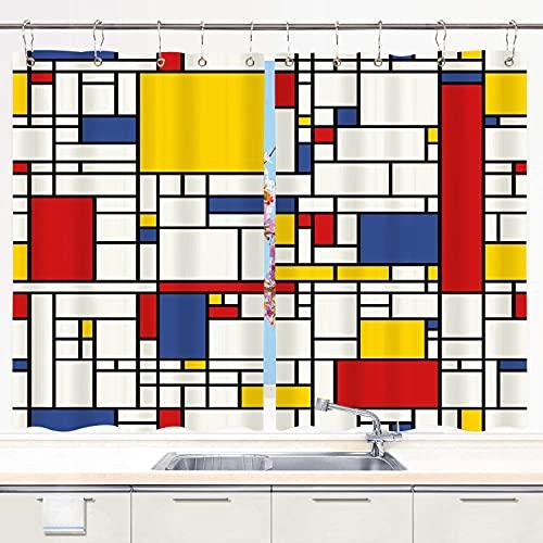 YUDILINSA Cortinas para Ventana de Cocina,Patrón de Mosaico Abstracto Amarillo Piet Mondrian Línea geométrica roja Diseño Moderno en Blanco y Negro,Cortinas Cortas con Ganchos,2 Piezas,140x100cm