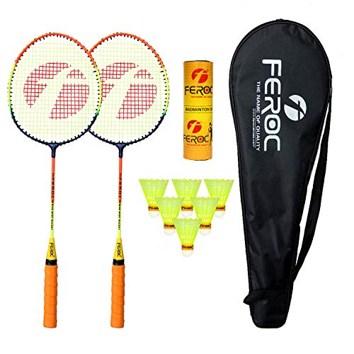 Feroc Turbo Badminton Racket Set of 2 with 6 Pieces Nylon shuttles with Full Cover