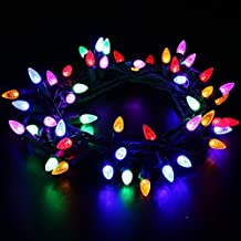 MAXINDA [UL Listed] Outdoor LED String Lights Weatherproof Strawberry Lights,17 feet 50 LEDs Colored Christmas Light Strands C3 Bulbs for Patio Garden Holiday Indoor Home Decorating