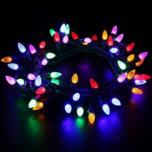 Outdoor LED String Lights,17 feet 50 LEDs Mood Lighting Strands,Diamond Strawberry C3 Bulbs,Colored Christmas Lights,for Patio Garden Holiday Wedding Decor-MAXINDA