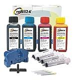 Kit de Recarga para Cartuchos de Tinta Brother 121, 123, 125XL, 127XL Negro y Color, Incluye reseteador, Adaptador y Accesorios + 400 ML Tinta