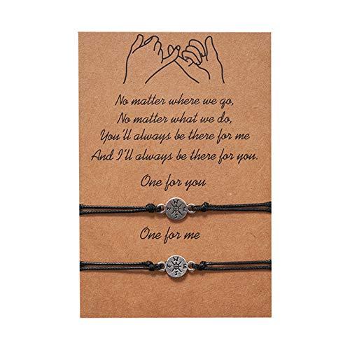 AILUOR Pulseras de amistad con girasol, de 2 piezas, ideal como regalo de cumpleaños para parejas, hermanas, madres, hijas, novios, novios y adolescentes