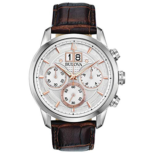 Bulova Classic Chronograph Mens Watch, Stainless Steel with Brown Leather Strap, Silver-Tone (Model: 96B309)
