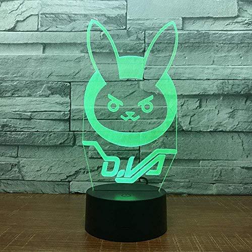 Tatapai Lámpara de ilusión óptica 3D con forma de conejo, luz nocturna LED, juguete para niños, mando a distancia, lámpara de mesita de noche, cambio táctil, regalo de cumpleaños para niños