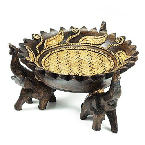 AeraVida Rejoicing Elephant Leaves Carved Rain Tree Circular Wooden Tray