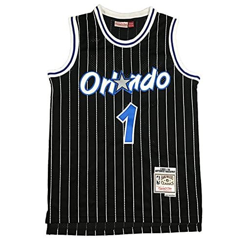 KKSY Herren Trikots Orlando Magic #1 Anfernee Hardaway Basketball Trikots Retro Atmungsaktive Weste,Black,L