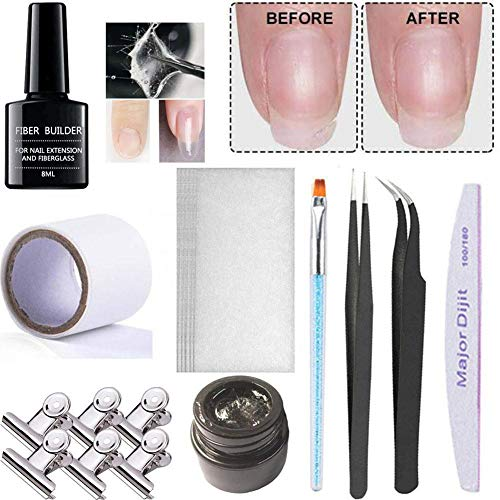 Kit d'extension Ongles en Fibre de Verre, avec Fiber Builder Gel, Gel d'extension d'ongle, Silk Wrap, Silk Tape, 6 Pinces à Ongles, Brosse, Fichier Tweezers