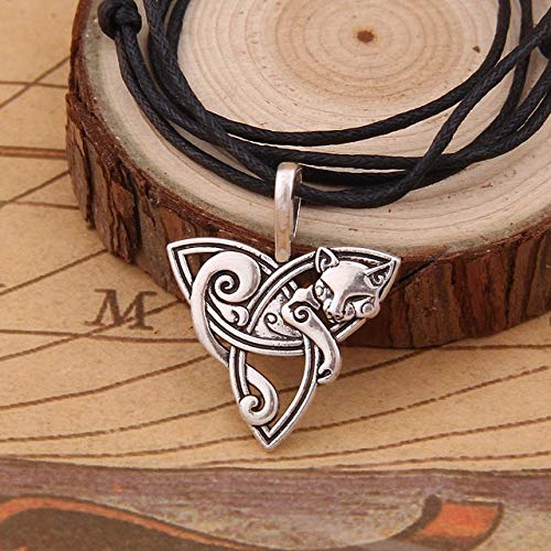 Davitu Hot New Style Viking Jewelry Celtic Knots Fox/cat Necklaces &Pendants Triquetra Silver Color Metal Chain Gift for Women and Men - (Metal Color: 1.5mm Cotton Chain, Length: Adjustable)