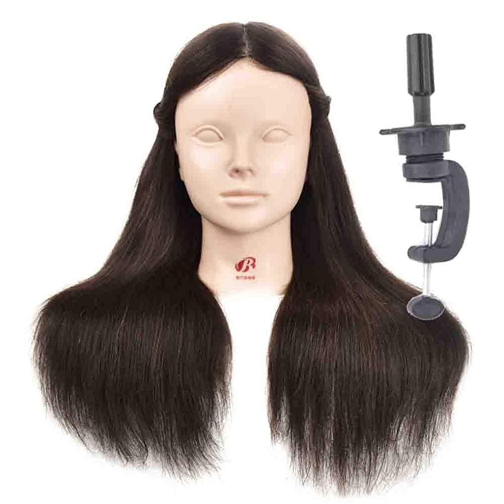 四回小屋運賃Makeup Modeling Learning Dummy Head Real Human Hair Practice Head Model Hair Salon Model Head Can be Hot Dyed