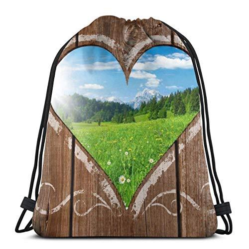 OPLKJ Bolsas con cordón unisex, Mochila plegable Nature Heart Bolsa de gimnasio Bolsa de cincho Bages de almacenamiento para Lady Sport Gym Sack Bolsa de mochila con cordón multifuncional de viaje