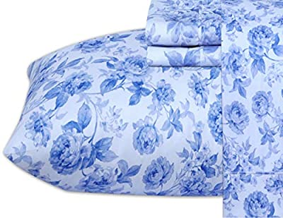 Ruvanti 4 Pcs Queen Size Bed Sheets, Extra Soft Brushed 1800 Microfiber Sheet Set, Wrinkle Resistant, Breathable, Luxurious, Deep Pocket, Warm,Include Flat Sheet,Fitted Sheet,2 Pillowcase,Blue Inkwash