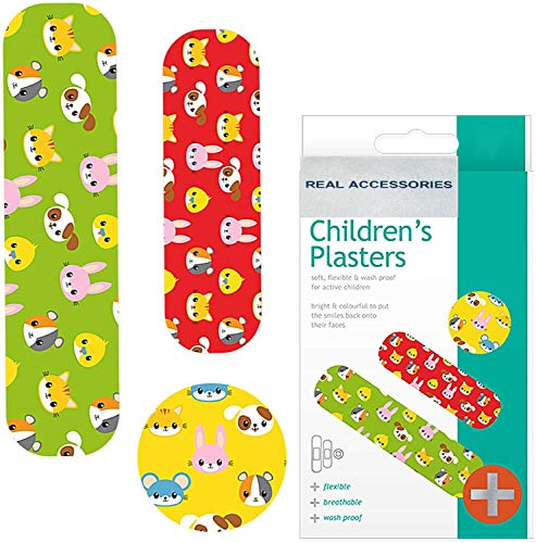 75pcs Fun Childrens Plasters Band| Fun Plasters for Kids | Brightly Coloured and Easily Detectable Assorted Plasters Breathable | Flexible & Washproof Material First Aid Plasters