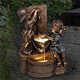 Gartenzwerg Statuen, verspielte Junge und Mädchen, Skulptur, Wasserlandschaft für Gartenteich, ein Kind mit Glühwürmchen, Heimdekoration, Springbrunnen für Vogeltränke, Pool, Outdoor