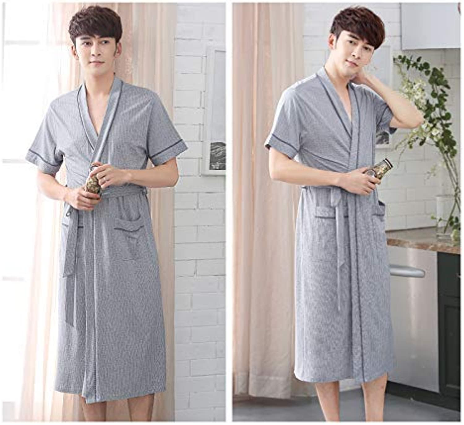 DALAI Couple Nightgown Men's Summer Thin Section Short-Sleeved Cotton Bathrobe Summer yurt Women's Long Sexy Pajamas (color   Grey, Size   XXXL) (color   Grey, Size   XXXL)