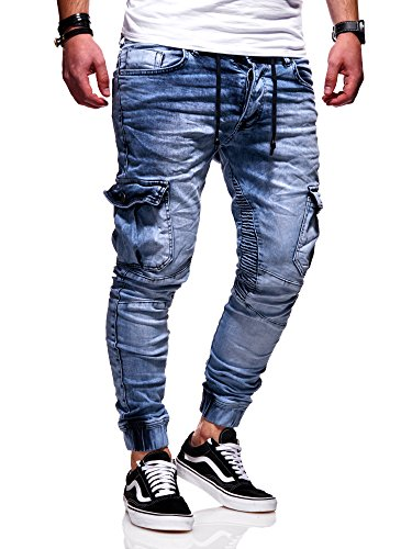 Rello & Reese Herren Biker Jogger-Jeans Hose RJ-3207 (Hellblau, W31/L32)