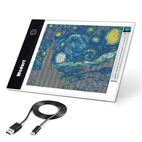 Wsdart A4 LED Light Pad for Diamond Painting - USB Powered Light Box Dimmable Brightness Light Board, Apply to Full Drill & Partial Drill 5D Diamond Painting