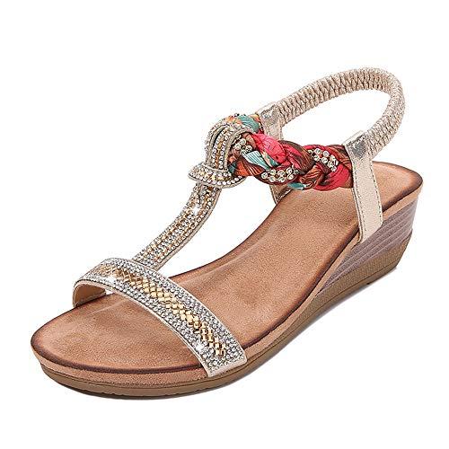 Sandalias Mujer Sandalias De Cuña De Diamantes De Imitación En Forma De T Boho Sandalias De Talla Grande Sandalias Nuevas Mujeres