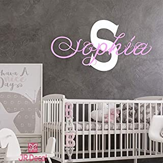 Girls name wall stickers, Custom Name initial Monogram wall sticker, vinyl Wall decal, personalised baby girls nursery decor, Wall Sticker for girls, Nursery name stickers