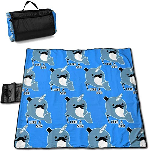 PageHar Large Outdoor Picnic Blanket Fancy Narwhal Like Sir Sandproof Beach Mat Tote For Camping Hiking Grass Travelling