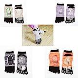 Socken mit Zehen rutschfeste Yoga Socken mit Gummisohlen,4 Paar Yoga-Socken mit Anti-Rutsch-Gurt,...