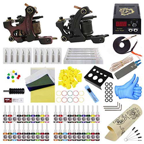 ZH1 Gun Tattoo Kit Tattoo Supplies Professionnel Complet, Tatouage kit Complet, bâton et Poke Tattoo Kit, Fournitures de Cas Voyage Tattoo Tattoo Artistes
