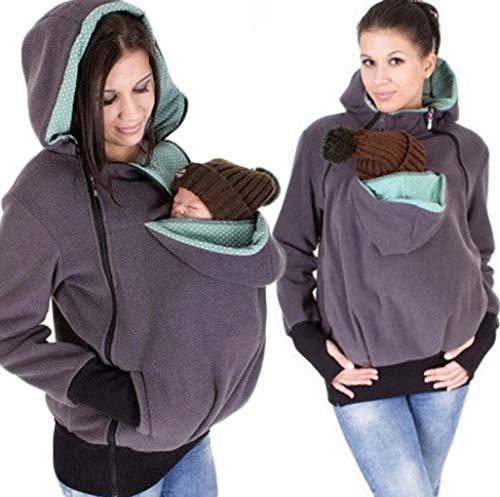 SMACO Kapuzenpullover Für Damen Känguru-Pullover Multifunktionaler Abnehmbarer Babyschlafsack Hoodie Känguru-Pullover,Gray,M