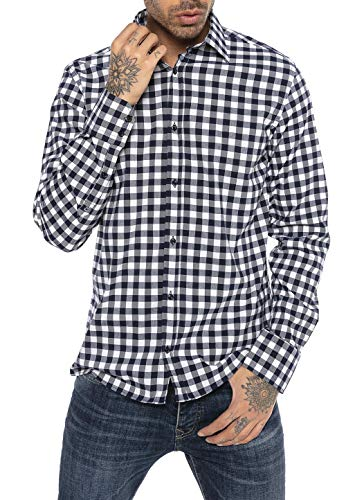 Redbridge Hemd für Herren Freizeithemd Langarm Baumwolle Kariert Modern Fit Weiß XL
