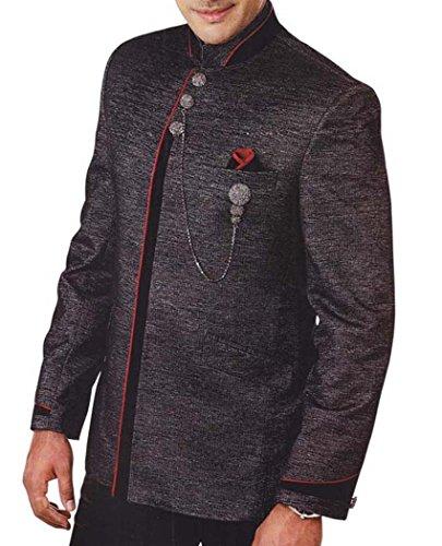 INMONARCH Hommes Costume Smoking Gris Regardez Classique 4 Pc TX948R36 46 Or S (Hauteur 171 cm a 180 cm) Gris foncÉ