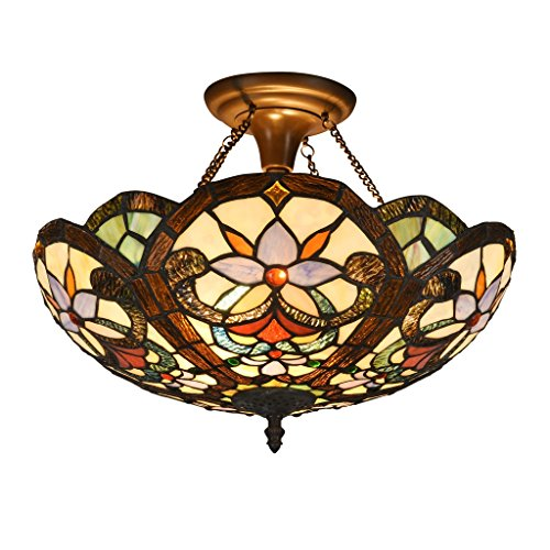 DOCHEER Stained Glass Tiffany Ceiling Fixture Lamp Semi Flush Mount 16.5 Inch Shade for Dinner Room Pendant Hanging 2 Light Kentucky
