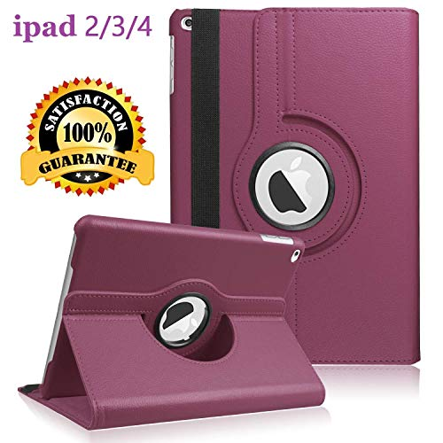 iPad 2/3/4 Case - 360 Degree Rotating Stand Smart Case Protective Cover with Auto Wake Up/Sleep Feature for Apple iPad 4, iPad 3 & iPad 2 (Purple)
